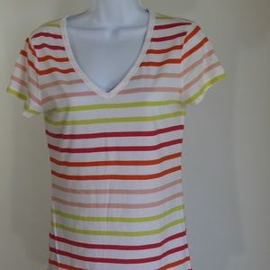 Victoria's Secret t-shirt white red yellow stripe